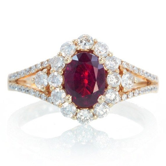 18k ruby engagement ring set in rose gold ruby halo diamond zoom junglespirit Image collections