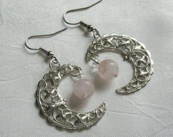 Rose Quartz Crescent Moon Earrings, boho jewelry bohemian jewelry gypsy jewelry hippie jewelry metaphysical bohemian earrings boho earrings