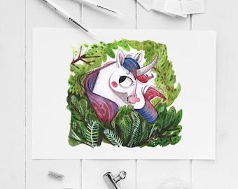 unicorn art giclee print, unicorn bedroom, unicorn painting, unicorn gift, unicorn art, illustration, unicorn decor, nursery decor unicorn