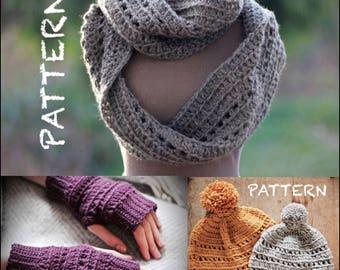 PATTERN SET Riding the Rails Crochet Set | Hat, Infinity Scarf, Fingerless Mitts | Beginner/Intermediate Photo Tutorial Crochet Instructions