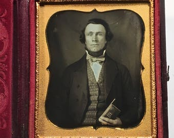 Fine Daguerreotype of a Fashionable Man Holding a Small Book with a Pen, 19th Century Antique Photo in Full Case