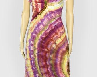 Braun gelb lila Spirale Tie Dye Kleid - Twisted Front - Größe Extra große XL