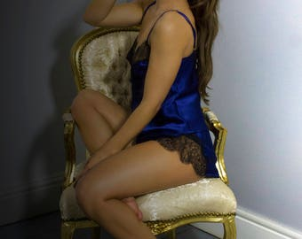 Luxury beautiful  lingerie and loungewear handmade in England. Chantilly lace and luxury silk midnight blue french knickers