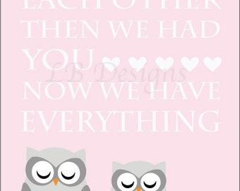 Pink and Gray Nursery, Girl Owl Nursery Print, Girl Nursery Decor, Pink Owl - 8x10