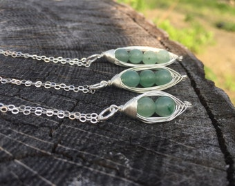 Pea Pod Necklace, Sterling Silver Peas in a pod, Two Peas in a Pod Necklace, Three Peas in a Pod Necklace, Jade Pea Pod Necklace