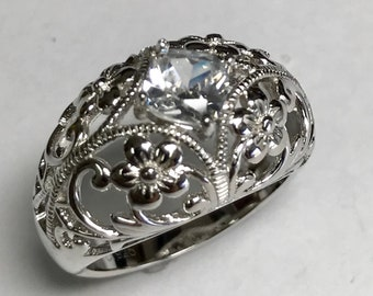 Sterling Silver Cut Out Flower Simulated Diamond Dome Ring