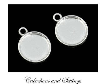 20 x 12mm Bezel Round Cabochon Earring / Charm Pendant Cups SHINY Silver 14mm outer