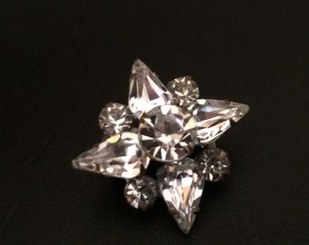 Lovely 1950's Clear Double Tier Tiny Rhinestone Scatter Pin
