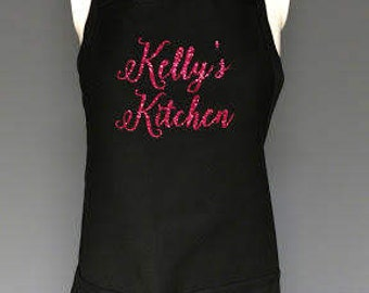 Chef gift idea personalized apron with pockets. Cook gift idea New Chef gift. Custom apron, Glitter writing