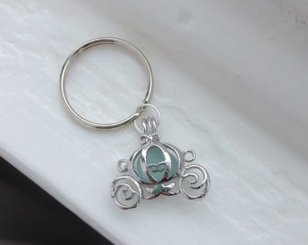 Cinderella's Carriage. Blue Carriage Key Chain. Genuine Blue Sea Glass.