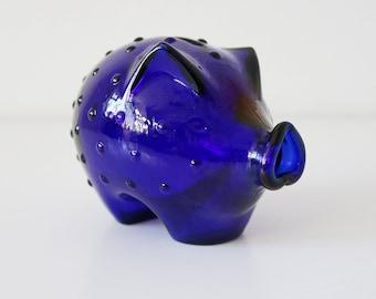 Holmegaard Danish blue glass piggy bank designed by Jacob Bang - mid century