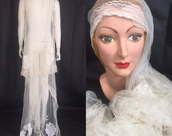 1920s tulle and lace wedding veil