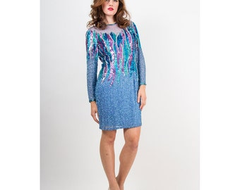 Vintage Sequin dress / 1980s beaded mesh illusion seapunk mini / The frozen dress S M