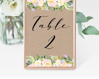 Kraft Rustic Table Numbers, DIY Table Numbers Printable, Rustic Floral Wedding Table Numbers, Tented Table Number, Rustic Wedding, PDF, F3