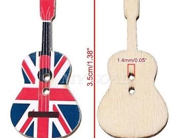 10 Buttom Guitar Union Jack Flag