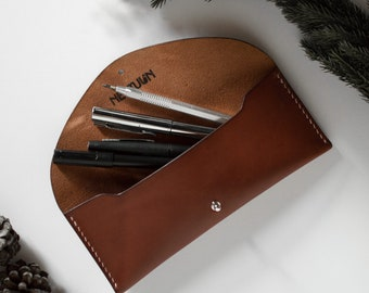 Brown vegtanned leather case, Leather pouch, Pencil case