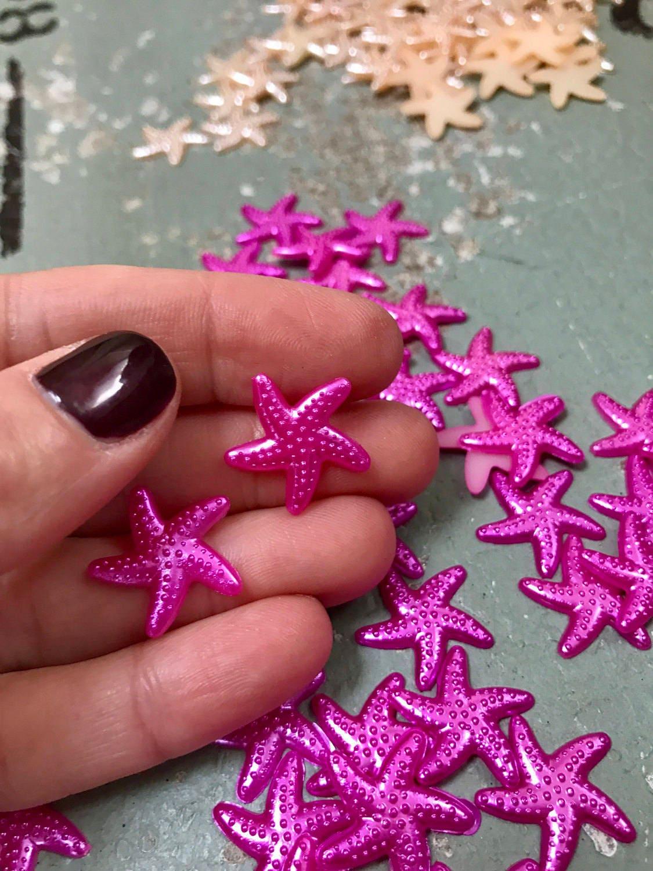 Colorful starfish resin flatback plastic magenta star fish sea