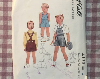 """Vintage 1940's McCalls Boy's Overalls Pattern #4138 Size 6 Chest 24"""" - 1940s Boys Pattern / 40s McCall's / Boys Playsuit / Boys Overall"""