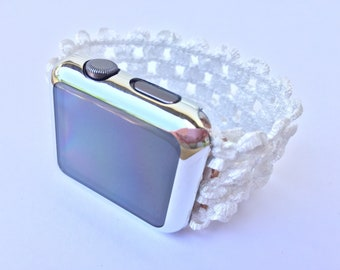 Stretch Apple Watch Band 38mm 42mm Elastic Specialty iWatch Strap - White - 12 COLOR CHOICES - Workout Straps 38 42 Cover TimeKitsUSA