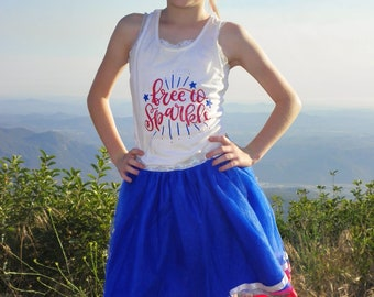 Girls 4th of July - Fourth of July Tank - 4th of July Shirt - Patriotic Tank - Free to Sparkle - Fourth of July Outfit - Baby Girl Fourth