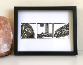 2015 Grand Central Market Los Angeles, Framed or Unframed Letterpress Print