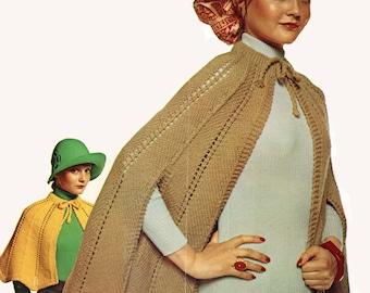 Cape Knitting Pattern, Long or Short Knit Cape Pattern, Shawl Knitting Pattern, INSTANT Download Pattern PDF (2603)