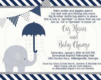 Elephant Baby Shower or Sprinkle (for 2nd or 3rd Child) Invitation-Digital File