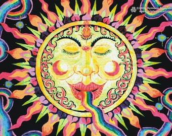Rainbow Sun UV Black Light Fluorescent & Glow In The Dark Phosphorescent Psychedelic Psy Goa Trance Art Postcard