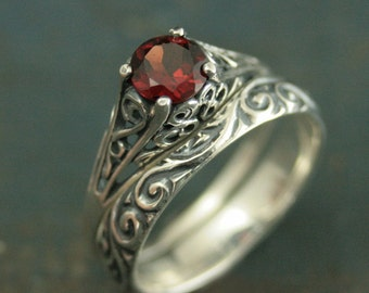 Garnet Bridal Ring Set--The Cinderella--Silver Antique Style Engagement Ring and Flourish Wedding Band Set--Mozambique Garnet Ring Set