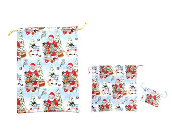 Christmas cotton fabric pouch set, blue red yellow eco friendly gift wrap, Santa Clause, snowmen, cats and trees pattern, handmade in Vienna