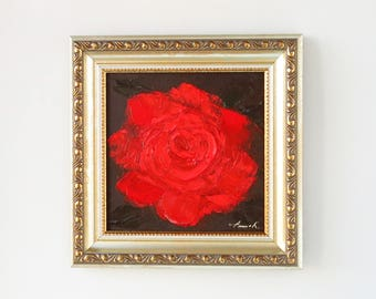Red rose painting Miniature flower painting 6x6 wall art Red rose art Square painting Red accent home decor Rose artwork Housewarming gift