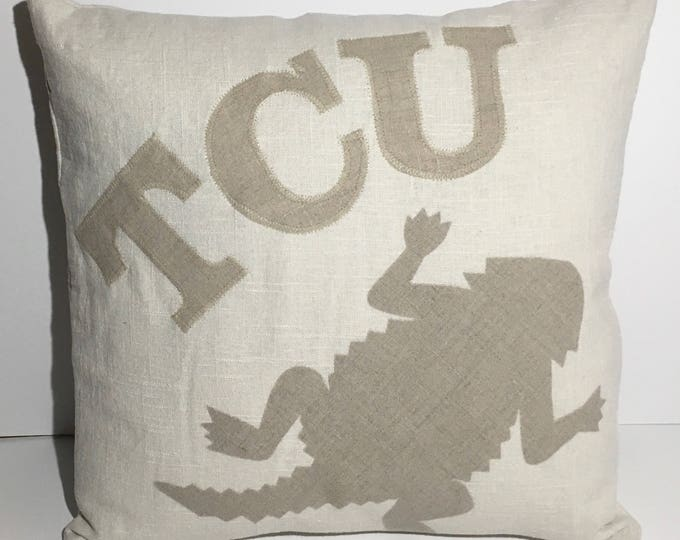 100% Washed French Linen Cream TCU Horned Frog Pillow 16x16 Pillow Cover Tan Applique