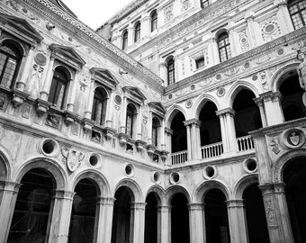 Venice, Italy, Saint Mark's Square, Black and White Photography