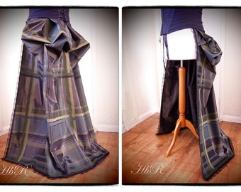 Overskirt / Checked Bustle Train Victorian Steampunk Gothic Lolita Burlesque Lace Mink Brown Trailing skirt