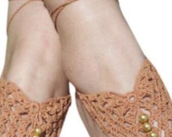 Light Brown Beaded Crochet Barefoot Sandals ON SALE