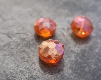 Puck beads round faceted Czech glass beads round orange reflections AB faceted spacer beads, 10 mm