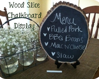 Wood Slice Chalkboard Sign-Chalkboard Menu Display-Rustic Chalkboard-Large