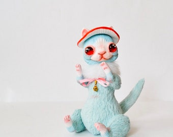 Mushroom Cat Blue Cat whimsical art doll fantasy creatures cat lover gift