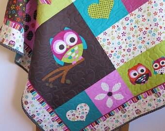 Baby quilt, owls, teal brown orange green pink