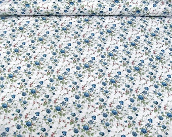 Cotton fabric L11113-003 in white with Rose print blue