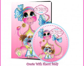 CD ROM Create With Sherri Baldy Tiny n Her Supersaurus Digital Digi Stamps Color images Card toppers 100s of Images Big Eyed Art My Besties