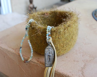 Mini mala amazonite necklace buddha deerskin tassel