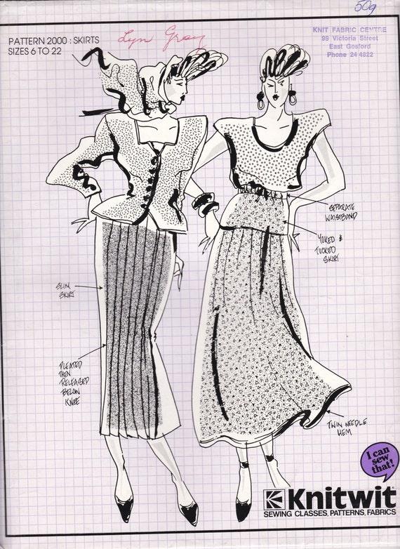 80\'s Sewing Pattern Knitwit 2000 Designer Skirts Size 6