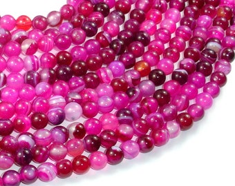 Banded Agate Beads, Fuchsia Agate, 6mm(6.3mm) Round Beads, 15 Inch, Full strand, Approx 63 beads, Hole 1mm (132054018)