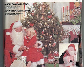 Santa's Coming To Town / Adult Santa Costume, Bag and Doll / Original McCall's Crafts Uncut Sewing Pattern 2289