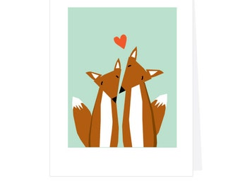 Valentines Day Card 2 sweet foxes greeting card
