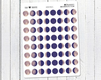 Moon Phases Planner Stickers - Lunar Cycle - Moons - Dots - Journal Stickers