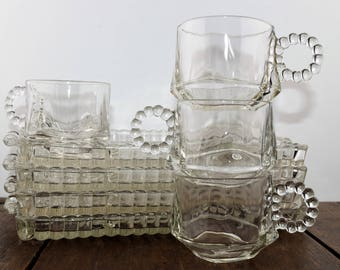 Hazel Atlas Snack Set - Ball and Rib Design, Snack Plate and Cup Set, Clear Glass, Pattern 1305, Vintage Snack Set, Cup and Plate Set