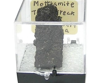 Mottramite Black Crystalline Druzy Thumbnail Mineral Specimen in a museum box from Arizona