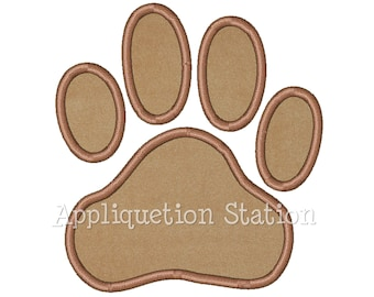 Paw Print Applique Machine Embroidery Design Bear Panther Dog INSTANT DOWNLOAD